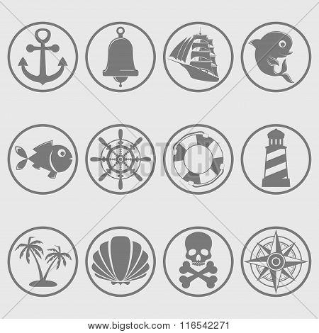 Marine symbols gray