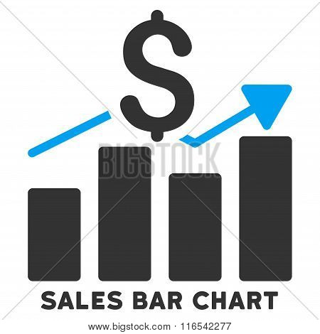 Sales Bar Chart Glyph Icon With Caption