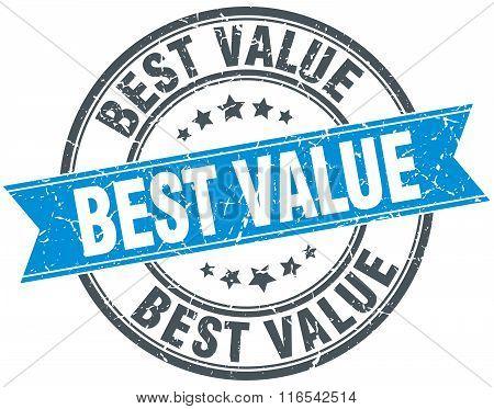 Best Value Blue Round Grunge Vintage Ribbon Stamp