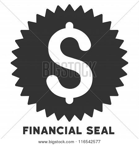 Financial Seal Glyph Flat Icon With Caption