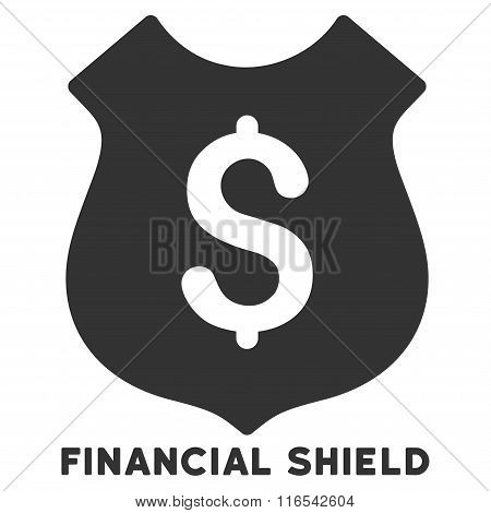 Financial Shield Glyph Flat Icon With Caption