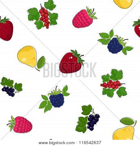 Seamless Pattern of Fruits and Berries