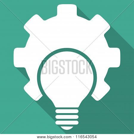 Bulb Configuration Long Shadow Square Flat Icon