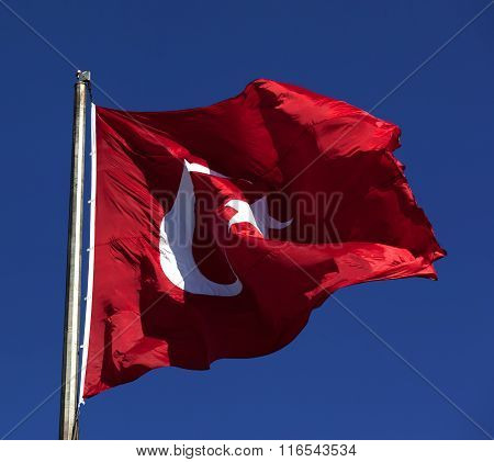 Sunlight Turkish Flag Waving In Wind At Sunny Day