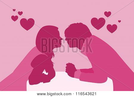 Couple Sitting Cafe Table Kiss Romantic Date Pink Color Silhouettes