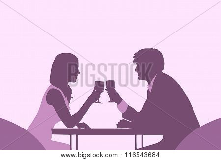 Couple Sitting Cafe Table Romantic Date Violet Color Silhouettes