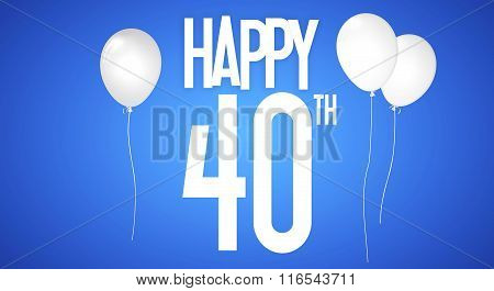 Happy Birthday Card - Boy With White Balloons - 40 Years Greeting Postcard - Illustration Anniversar