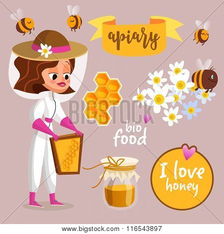 Apiary vector illustrations. Beekeeper cartoon concept. Character design