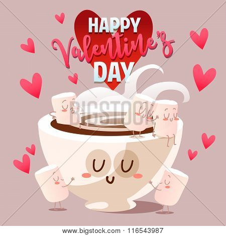Postcard Valentine's Day. Illustration with funny characters. Cute cup of coffee and marshmallows.