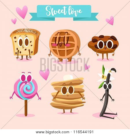 A set of cute sweets. Illustration with funny characters. Love and hearts. Funny food. Biscuits, waf