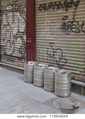 Beer Kegs On The Streets Of Madrid