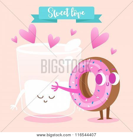 Postcard Valentine's Day. A glass of milk and donut. Comic food. Illustration with funny characters.