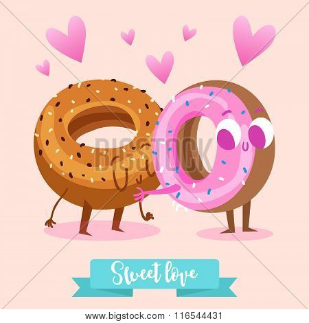 Postcard Valentine's Day. A couple of lovers muffin and donut. Comic food. Illustration with funny c