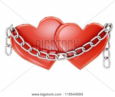 Two hearts bound by a chain on a white background. 3d rendering