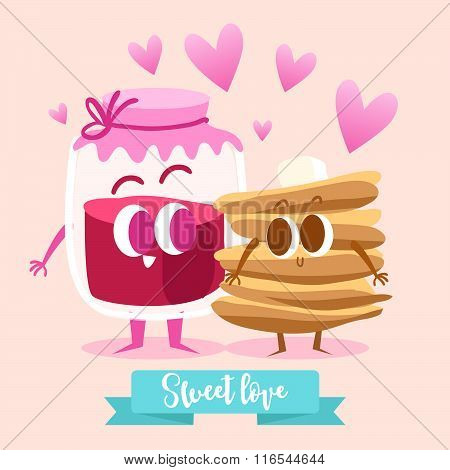 Postcard Valentine's Day. Raspberry jam and pancakes. Comic food. Illustration with funny characters