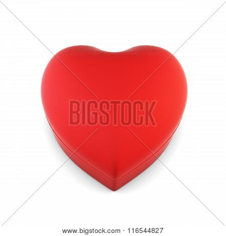 Gift box in the shape of a heart isolated on white background. 3
