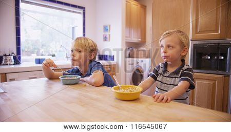 Two Young Handsome Brothers Eating Cereal Together