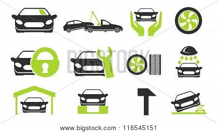 car services icon set