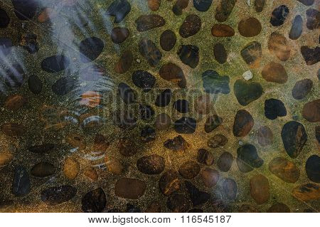 Abstract Background With Rounded Pebble Stones Under Water