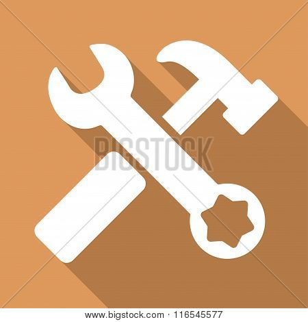 Hammer And Wrench Long Shadow Square Flat Icon