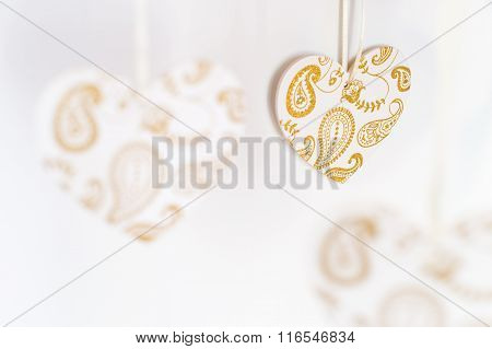 White Hearts With Golden Patterns