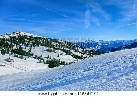 View On Mount Rigi In Winter