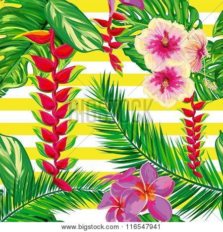 Tropical flowers, palm leaves, flower, strips.