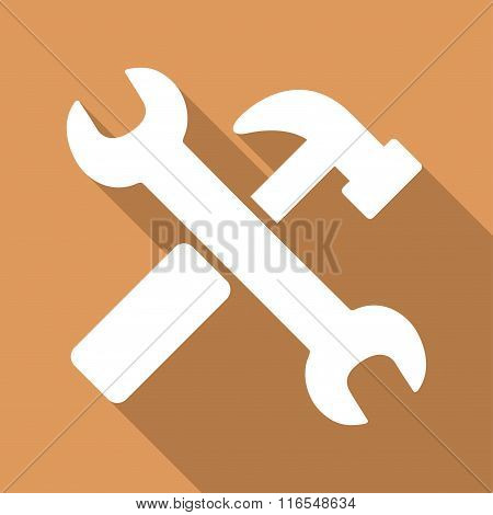 Hammer And Wrench Long Shadow Square Icon