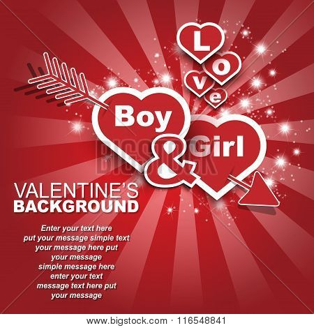 Valentine's Day Boy And Girl Heart In Love