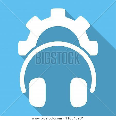 Headphones Configuration Long Shadow Square Icon