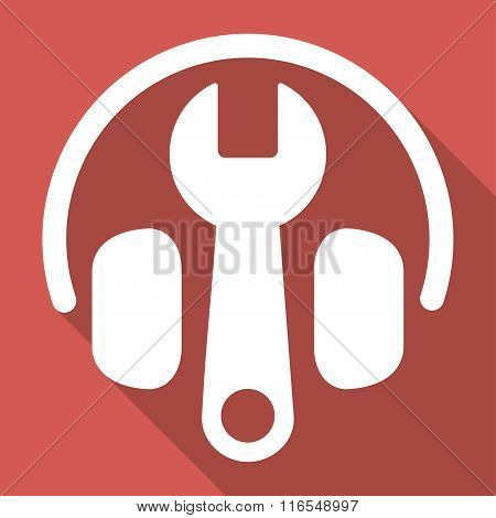 Headphones Tuning Long Shadow Square Icon