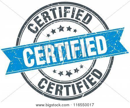 Certified Blue Round Grunge Vintage Ribbon Stamp