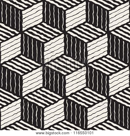 Vector Seamless Black And White Hand Painted Line Geometric Stripes Shaded Cube Pattern