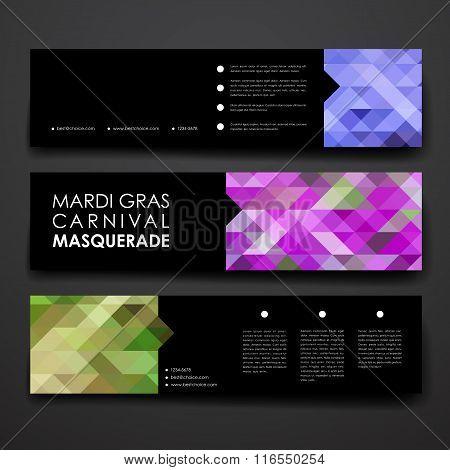 Set of modern design banner template in Mardi Gras style