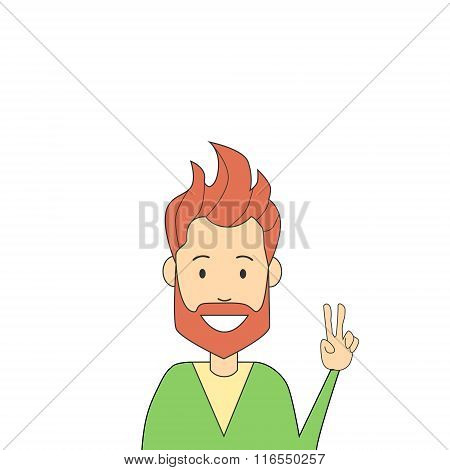 Man Hipster Hand Point Two Finger Up Peace Gesture Isolated
