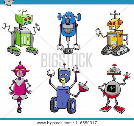 Robot Characters Cartoon Set
