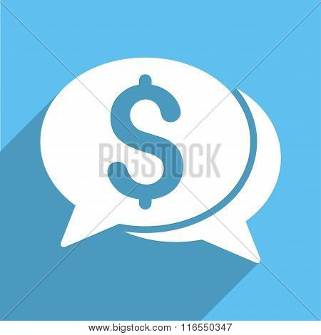 Financial Chat Long Shadow Square Icon