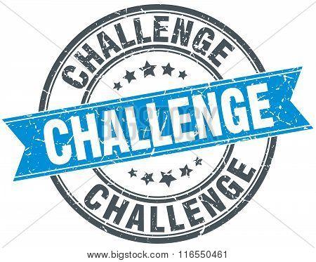 Challenge Blue Round Grunge Vintage Ribbon Stamp