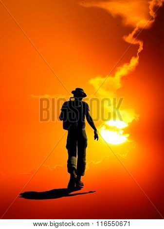 Silhouette of a man on a red background.