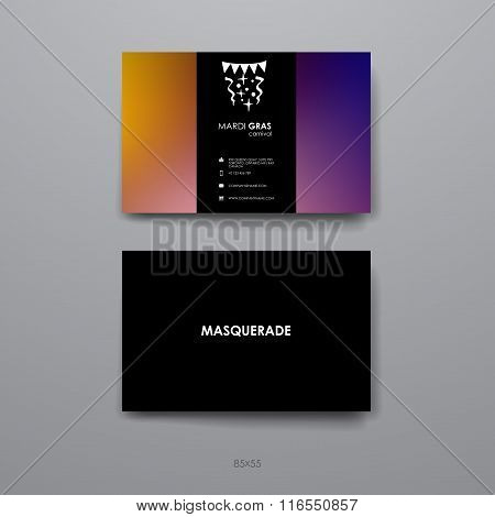 Set of Design Business Card Template in Mardi Gras style