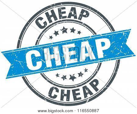 Cheap Blue Round Grunge Vintage Ribbon Stamp
