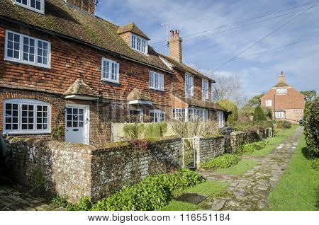 Row Of Cottages In A Village In Kent