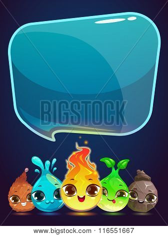 Vertical vector banner with little cute monsters