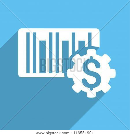 Barcode Price Setup Long Shadow Square Icon