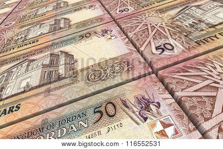 Jordan dinars bills stacked background. Computer generated 3D photo rendering.