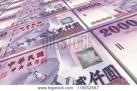 Taiwanese yuan bills stacks background. Computer generated 3D photo rendering.