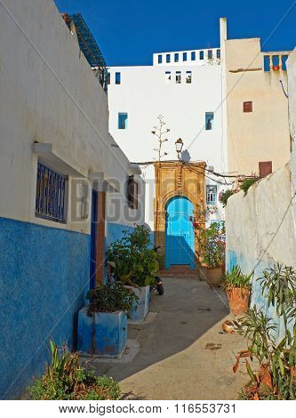 Street Of Kasbah Of The Udayas In Rabat, Morocco.