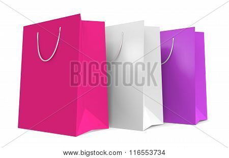 Shopping bags with Valentine's Day color theme of pink and white