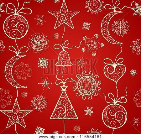 Red wallpaper for winter holiday with hanging golden baubles