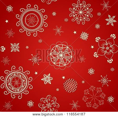 Xmas vintage wallpaper with golden pattern